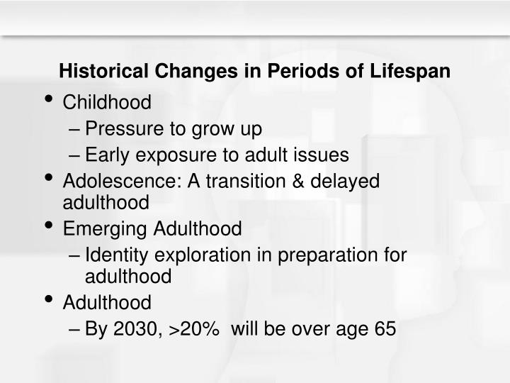 Historical Changes in Periods of Lifespan
