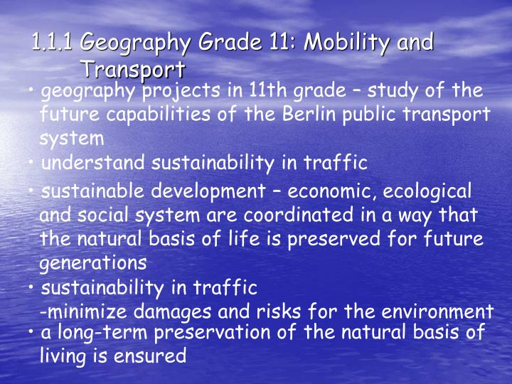 1.1.1 Geography Grade 11: Mobility and