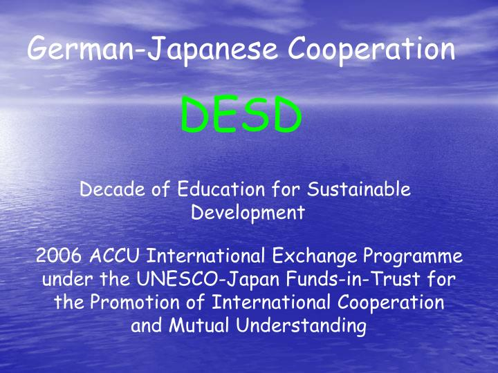 German-Japanese Cooperation