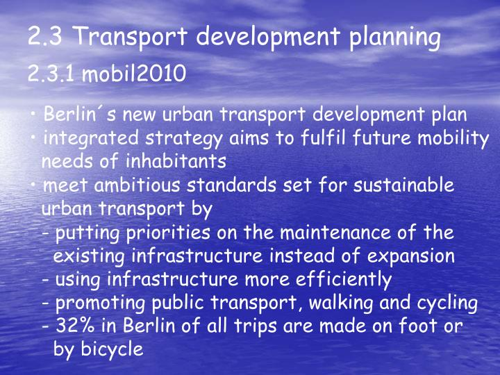 2.3 Transport development planning