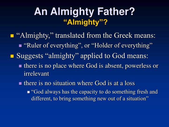 An Almighty Father?