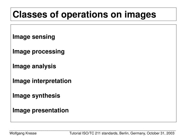 Classes of operations on images