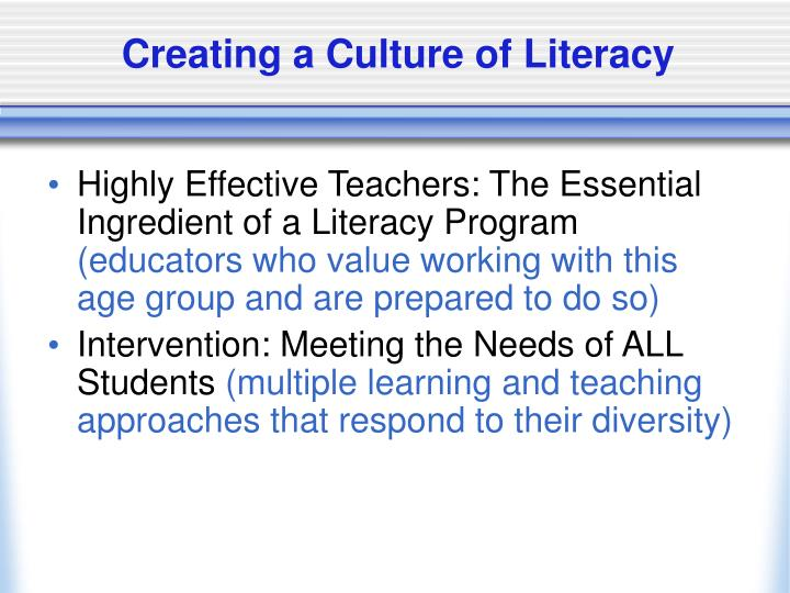 Creating a Culture of Literacy