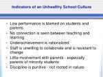 indicators of an unhealthy school culture