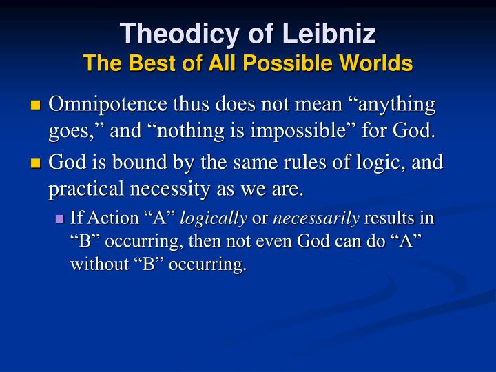 Theodicy of Leibniz