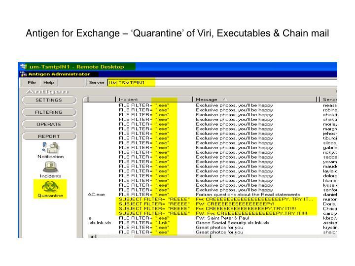 Antigen for Exchange – 'Quarantine' of Viri, Executables & Chain mail