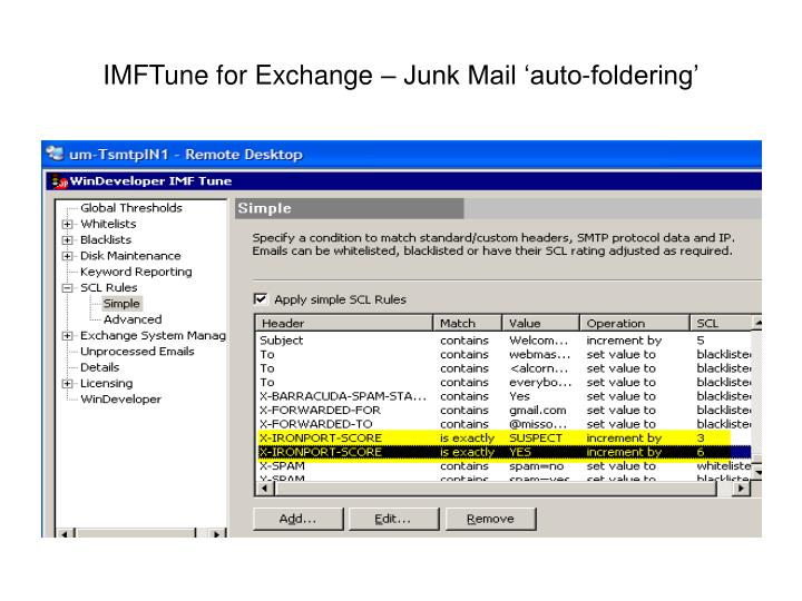 IMFTune for Exchange – Junk Mail 'auto-foldering'