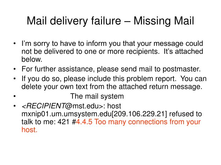 Mail delivery failure – Missing Mail