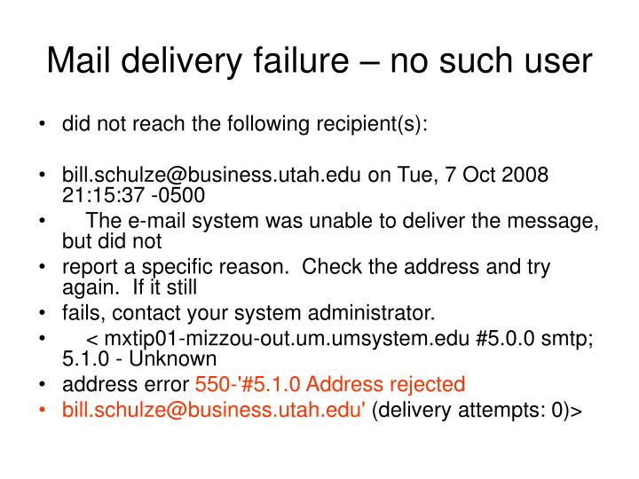 Mail delivery failure – no such user
