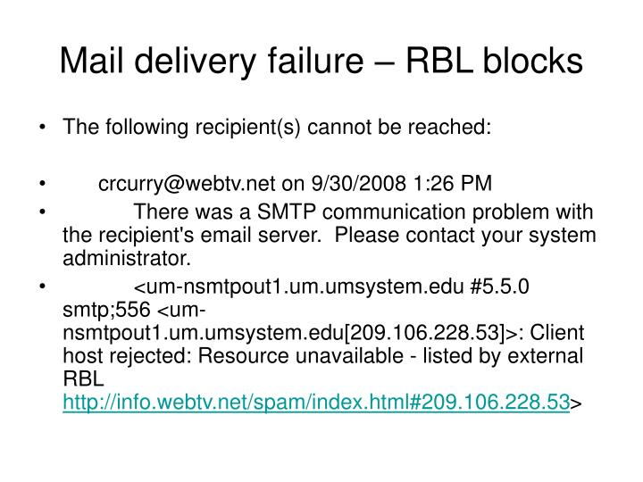 Mail delivery failure – RBL blocks