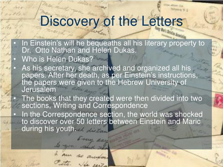 Discovery of the Letters