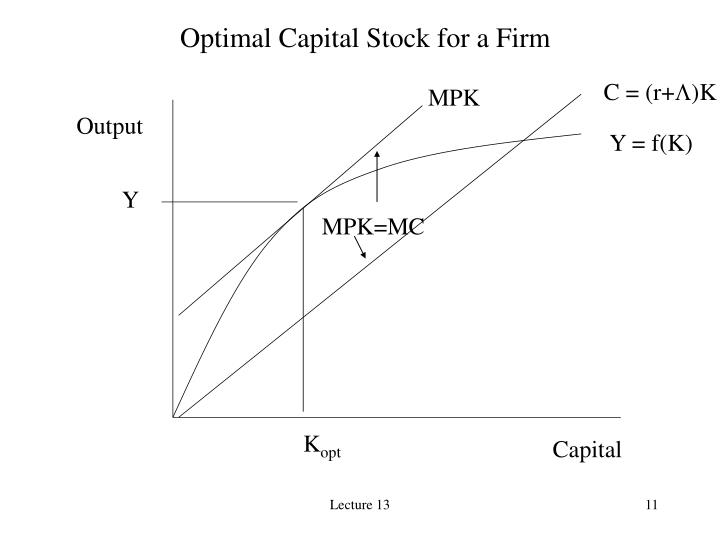 Optimal Capital Stock for a Firm
