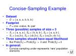 concise sampling example