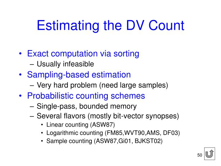 Estimating the DV Count