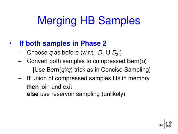 Merging HB Samples