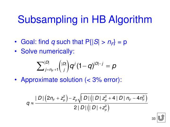 Subsampling in HB Algorithm