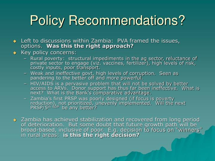Policy Recommendations?