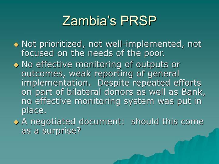 Zambia's PRSP