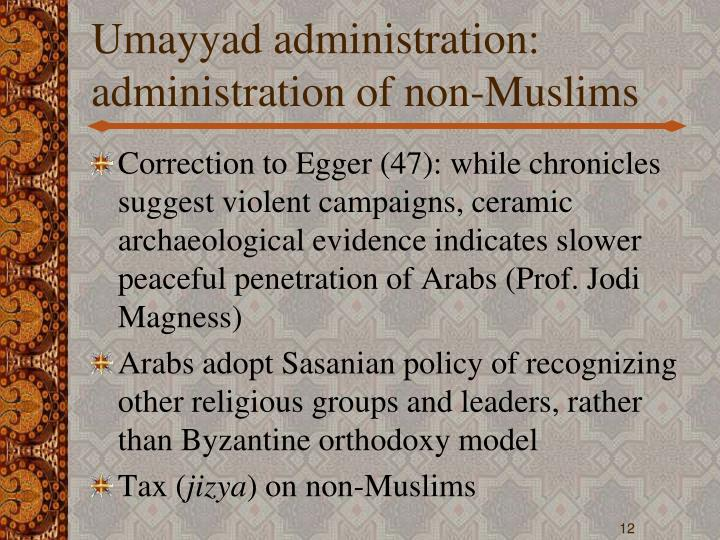 Umayyad administration: administration of non-Muslims