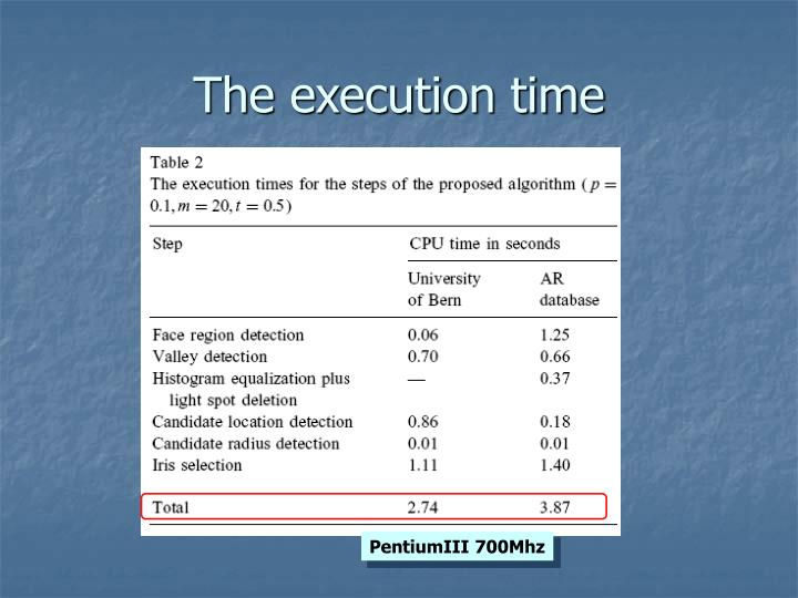 The execution time