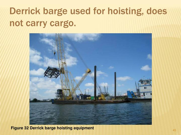 Derrick barge used for hoisting, does not carry cargo.
