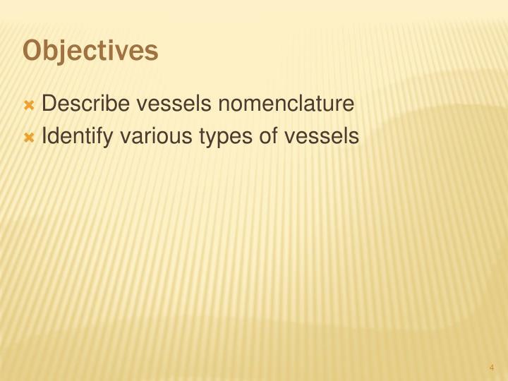 Describe vessels nomenclature