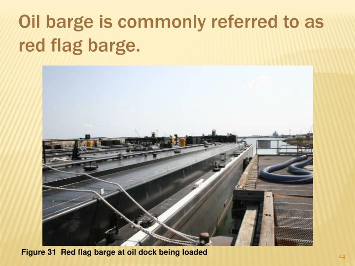 Oil barge is commonly referred to as red flag barge.