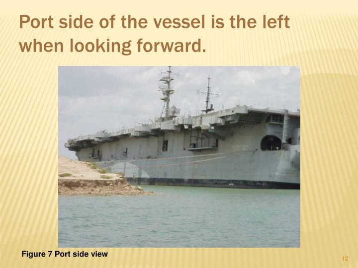 Port side of the vessel is the left when looking forward.