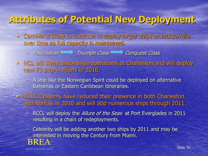 Attributes of Potential New Deployment