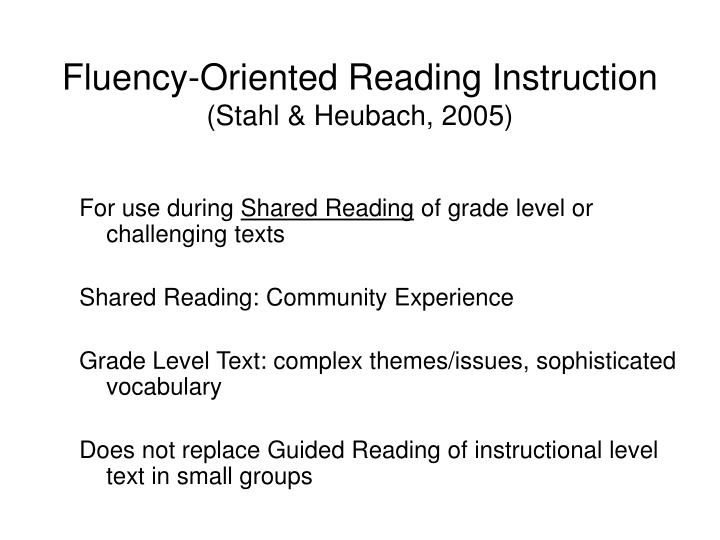 Fluency-Oriented Reading Instruction