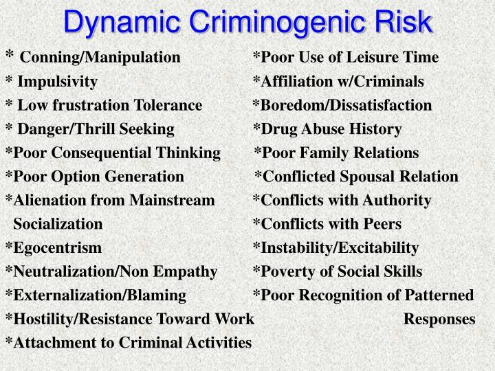 Dynamic Criminogenic Risk