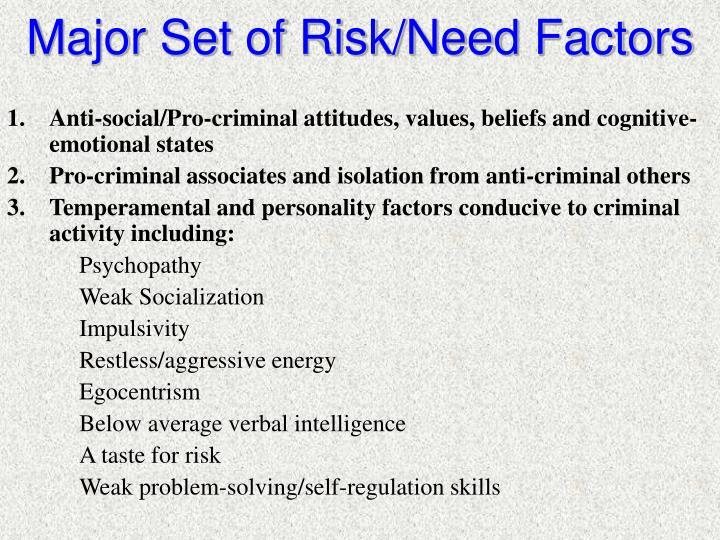 Major Set of Risk/Need Factors