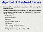 major set of risk need factors