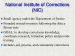 national institute of corrections nic