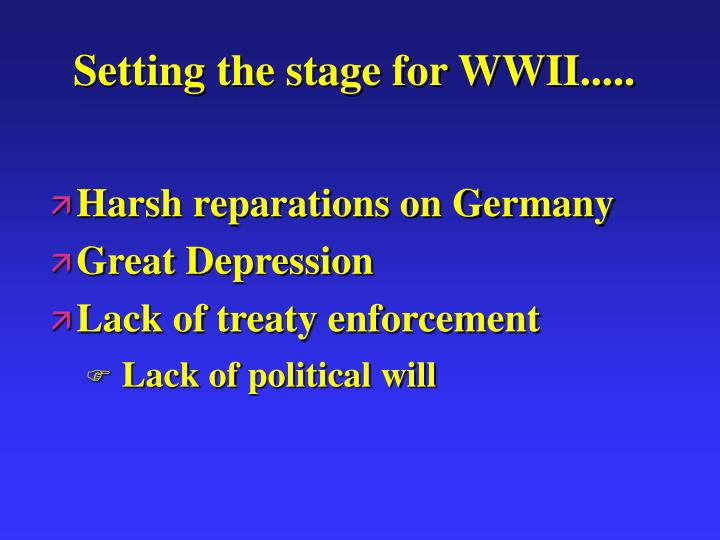 Setting the stage for WWII.....