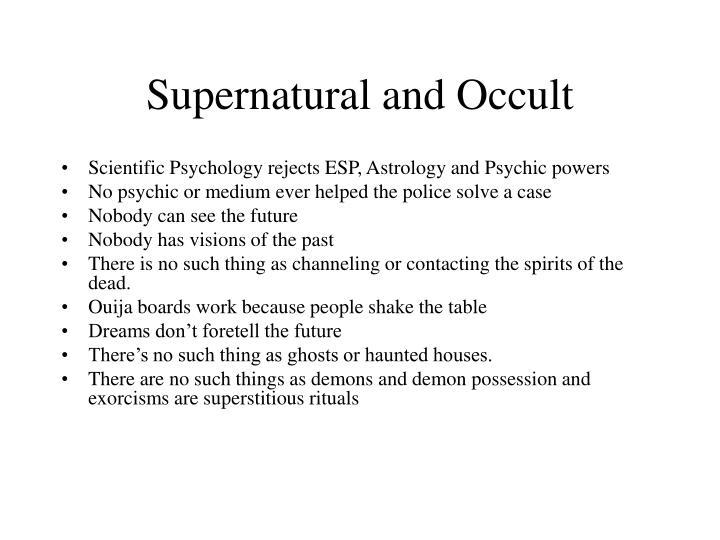 Supernatural and Occult