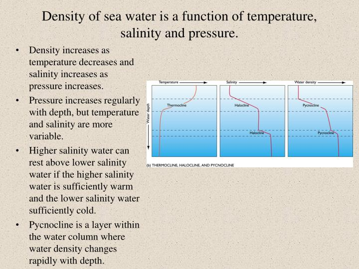 Density of sea water is a function of temperature, salinity and pressure.