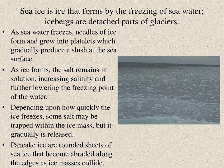 Sea ice is ice that forms by the freezing of sea water; icebergs are detached parts of glaciers.