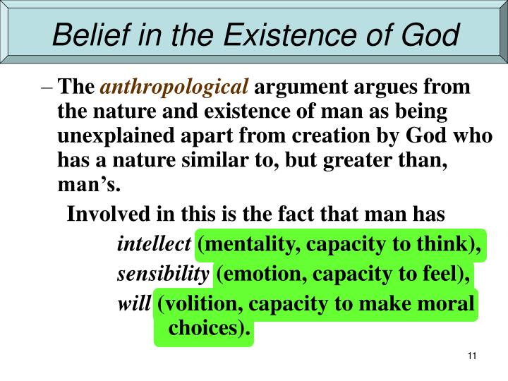 Belief in the Existence of God