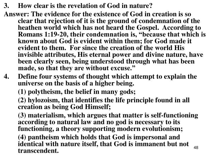 3.How clear is the revelation of God in nature?