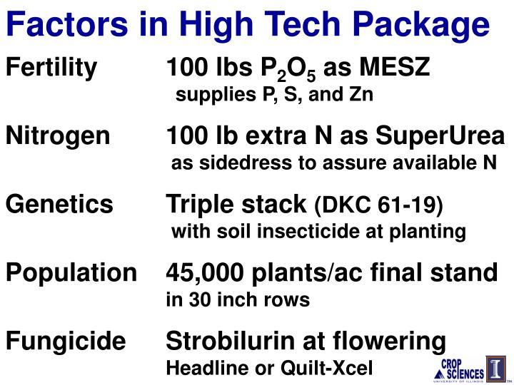 Factors in High Tech Package