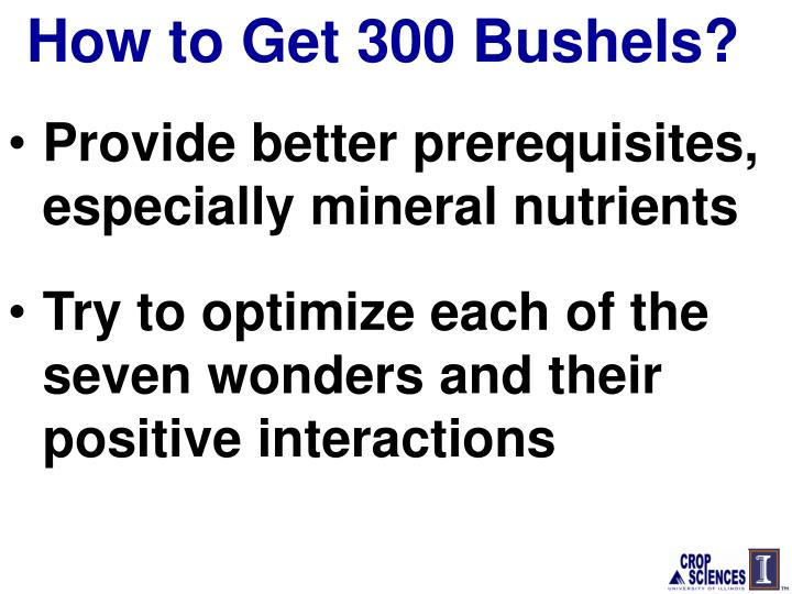 How to Get 300 Bushels?