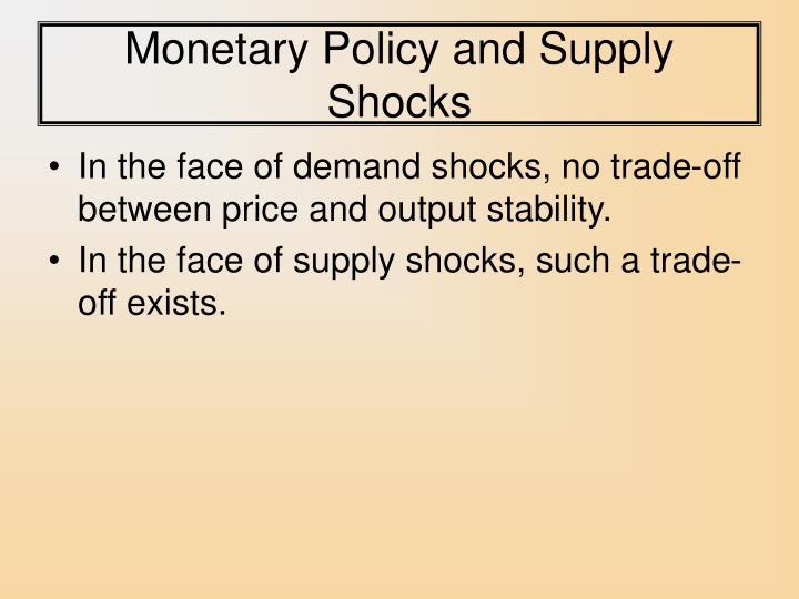 Monetary Policy and Supply Shocks
