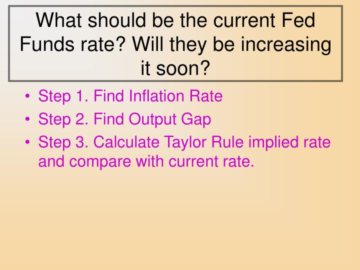 What should be the current Fed Funds rate? Will they be increasing it soon?