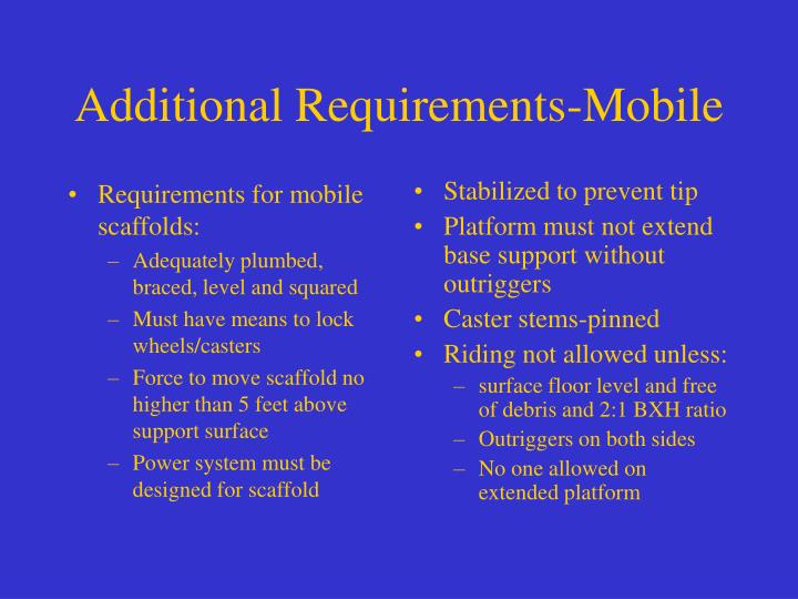 Requirements for mobile scaffolds: