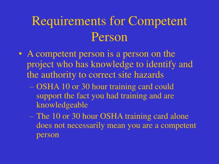 Requirements for Competent Person