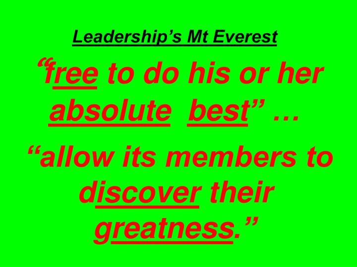 Leadership's Mt Everest