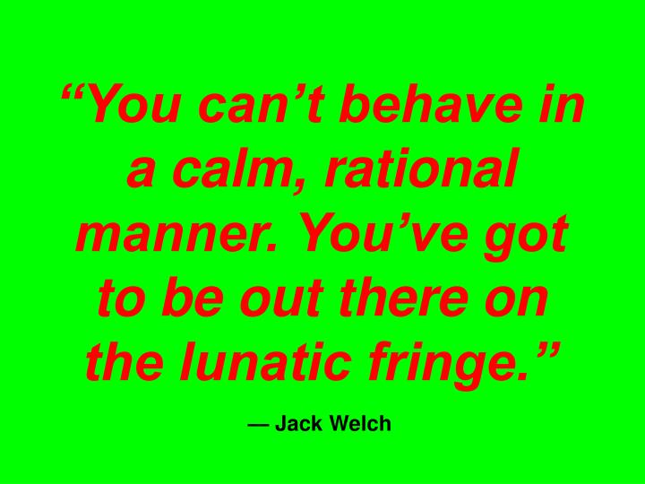 """""""You can't behave in a calm, rational manner. You've got to be out there on the lunatic fringe."""""""