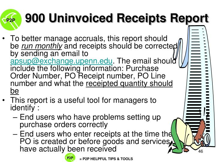 900 Uninvoiced Receipts Report