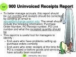 900 uninvoiced receipts report